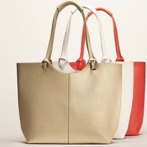 Gold leather tote bag -Never Used! -New